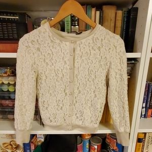 Limited brand cream cardigan of beaded lace